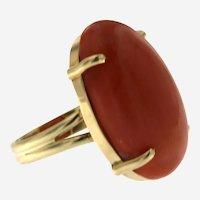 Vintage 14 kt Gold & Coral Ring, Circa 1960-70