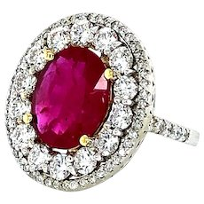 4.28 Carat Ruby & Diamond Ring 18kt Gold