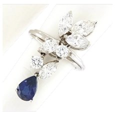 5.31 ct Diamond & Sapphire High End Waterfall Ring, 18kt White Gold