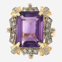 Vintage 18 kt Gold Diamonds Amethyst Retro ring