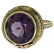Mid Century 14 kt Gold Amethyst and Pearls Delicate Filigree Ring