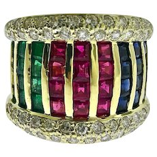 Estate Round Diamond & Princess Cut Emerald, Ruby and Sapphire 18k Yellow Gold Wide Ring