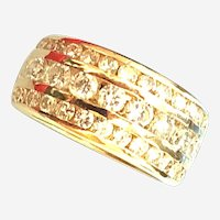 Estate 1 ct Diamonds in 14 kt Yellow Gold Wide 3 Row Band Ring