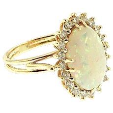 Vintage Opal & Diamond Ring, 14 kt Gold
