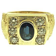 14 kt Gold Sapphire & Diamond Men's Ring, Circa 1980