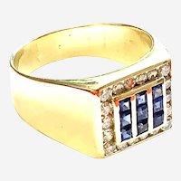 18kt Gold Mens Diamond Sapphire Vintage Ring