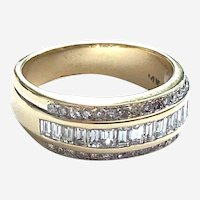 14kt Gold 1ct Diamond Wide Vintage 3 Row Band Ring