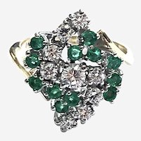 14kt Gold Emerald & Diamond Estate Cocktail Ring