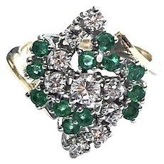 14kt Gold Emerald & Diamond Estate Cocktail Ring
