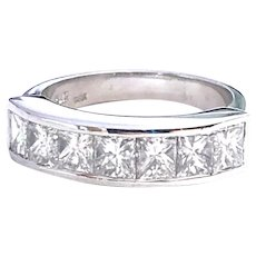 Platinum Princess Cut 2.35 ct Diamonds Estate Band Ring