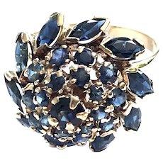 14kt Gold Sapphire Vintage Cluster Ring