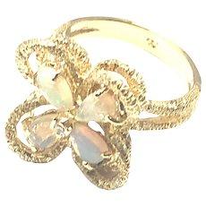 14kt Gold Opal Diamond Vintage Ring