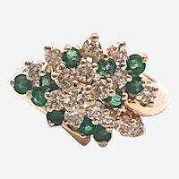 14kt Gold Emerald & Diamond Cluster Ring
