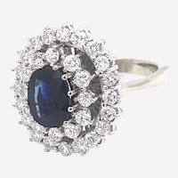 Vintage 14kt Gold 2 ct Diamond & 2 ct Sapphire  Cluster Ring