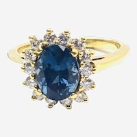 Natural 2.24 ct Blue Sapphire 0.50ct Diamonds in 18kt Gold Ring