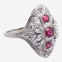 Vintage 18kt Gold Ruby & Diamond Ring