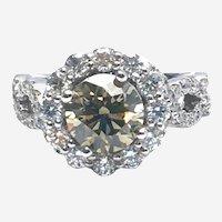 2.82 ct Fancy Greenish Yellow Diamond Engagement Ring 14k