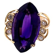 Vintage 18 kt Gold Amethyst Diamond Ring