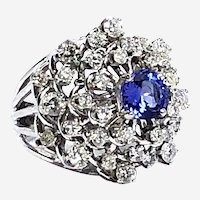 Large 14 kt Gold Gemstone & Diamonds Cocktail Ring