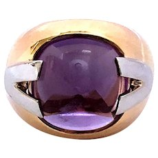 Versace 18kt Gold Amethyst Ring, Cocktail Ring.