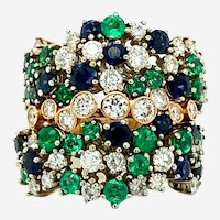 4.70 ct Movable Sapphire & Emerald Diamond Ring, 18kt 2-Tone Gold