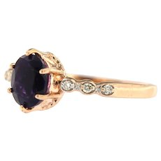 Amethyst and Diamond Cocktail Ring, 14 kt Rose Gold