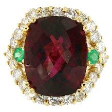 Exquisite Tourmaline Rubellite, Diamonds & Emeralds Ring in 14 kt Yellow Gold