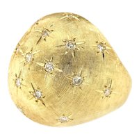 Vintage Large 14kt Yellow Gold Dome Ring Adorned with Diamonds, Circa 1960-70