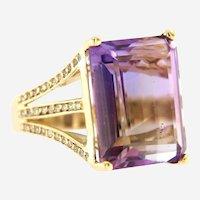 Vintage Amethyst Diamond Statement Ring in 14 kt Yellow Gold