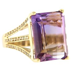Vintage Amethyst Diamond Statement Ring in 14 kt Yellow Gold