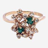 Estate Emerald & Diamond 14kt Gold Cluster Ring