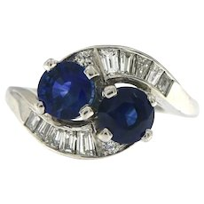 Vintage Sapphire Diamond Crossover Bypass Platinum Engagement Ring