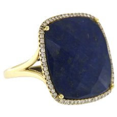 14K White Gold Blue Sapphire & Diamond Cocktail Ring, Meira T