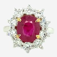 5.48 ct Ruby Diamond Ring in 18kt White Gold