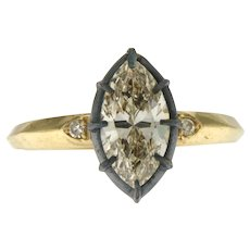Vintage Style 1.45 ct Diamond Marquise Engagement Ring, 14kt Gold and Silver