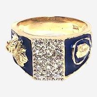 Mens 14 kt Gold Diamond Jesus and Maria Enamel Ring