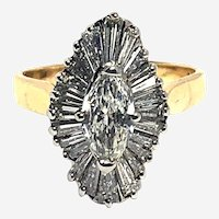 Retro 1.50 ct Diamonds Balerina Ring in 14 kt Gold