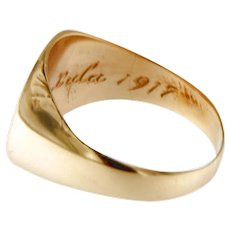Antique Circa  1917 Signet Ring in 14 kt Yellow Gold