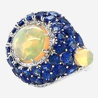 Sapphire & Opal Diamond Ring 18kt Gold