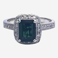 Diamond Tourmaline 14kt Gold Ring