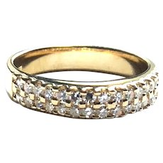14kt Gold Diamond 2 Row Band