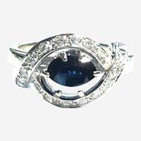Vintage Sapphire Diamond 14kt Gold Ring