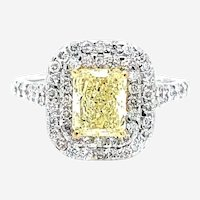 1.85 Carat Natural Fancy Yellow Diamond 18kt Gold