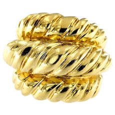 Retro 14kt Gold Bamboo oversize Ring