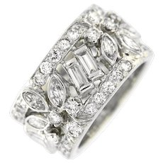 Vintage Platinum 4 ct Diamond Wide Anniversary Band Ring, Circa 1960