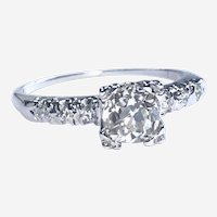 Art Deco 1 ct Old European Cut Diamond Engagement Ring