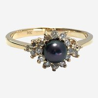 14kt Gold Diamond and Pearl Cocktail Ring