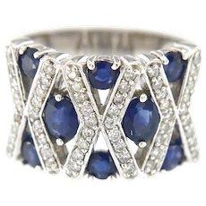 14kt Gold Diamond Sapphire Cluster Ring
