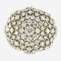 3.25 ct Diamond Domed Bombe Ring in 14k Gold