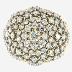 3.25 ct Diamond Domed Bombe Ring in 14k Gold